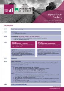 2nd Impact Forum Salzburg Agenda